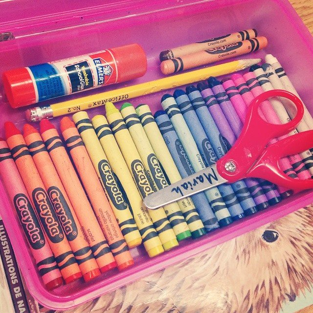 her pencil box at school
